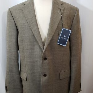 TailorByrd Taupe Brown Wool Blend Jacket 48L